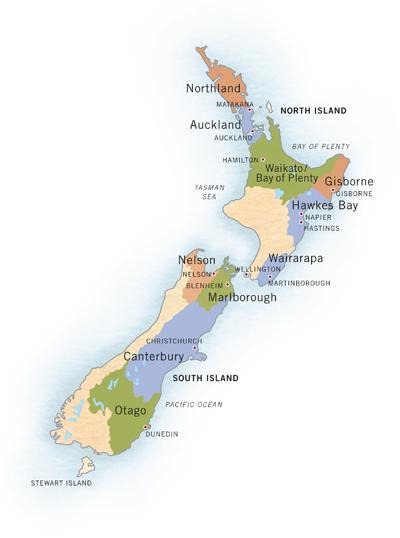 Régions viticoles de Nouvelle-Zélande
